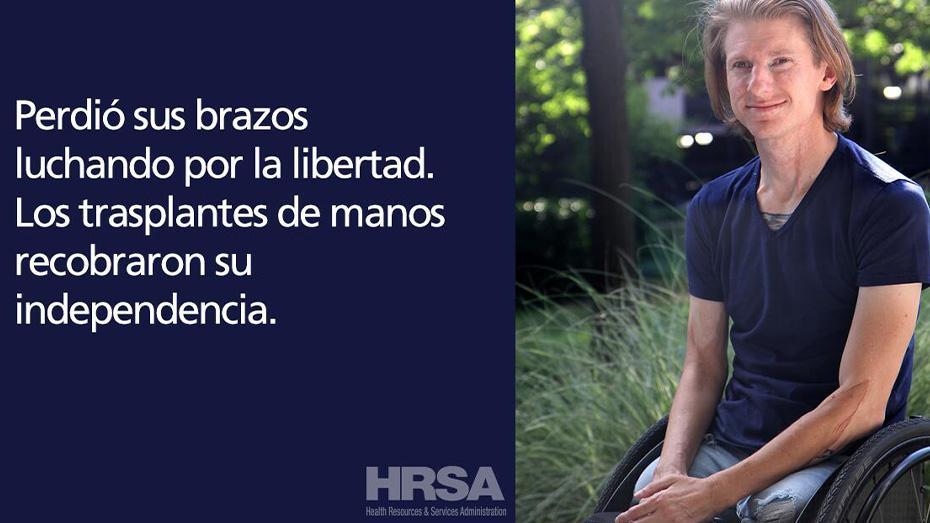 Perdio sus brazos luchando por la libertad. Los trasplantes de manos recobraron su independencia.
