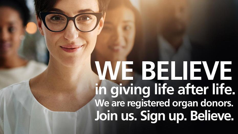 Creemos en dar vida después de la vida. Somos donantes de órganos registrados. Únase a nosotros. Inscríbase. Crea.