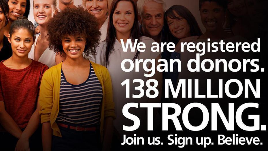 Somos donantes de órganos registrados. La fuerza de138 millones. Únase a nosotros. Inscríbase. Crea.