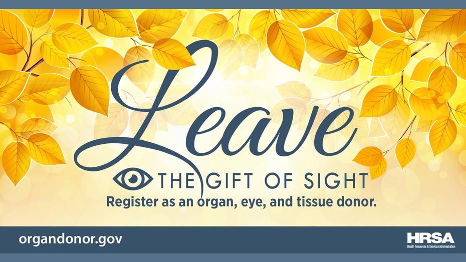 regale el don de la vista. Regístrate como donante de órganos, córnea y tejido.