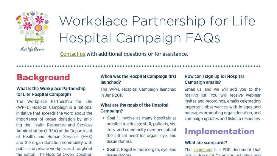 preguntas frecuentes sobre la campaña de colegas de trabajo para la vida en hospitales