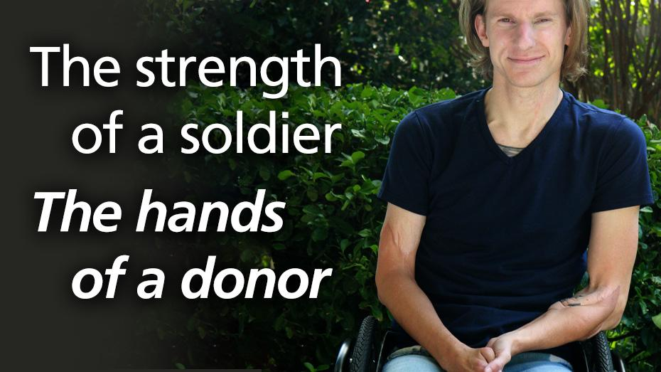 La fortaleza de un soldado. Las manos de un donante